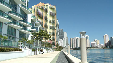 Luxurious apartment buildings in Brickell, Miami Footage