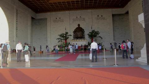 Chiang Kai Shek Memorial Hall - Dolly Shot Red Car stock footage