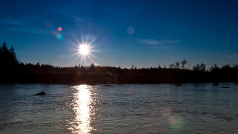 clear sky at sunset on the river Footage