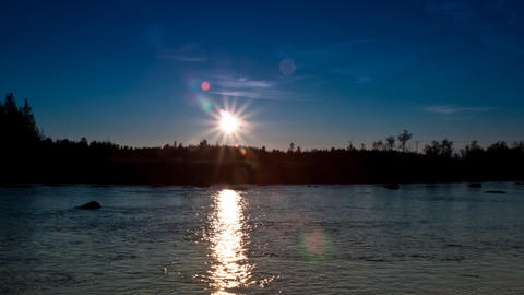clear sky at sunset on the river Stock Video Footage