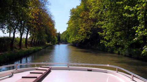 boat floats on the river Footage