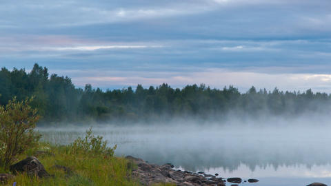 mist over the lake, timelapse Stock Video Footage