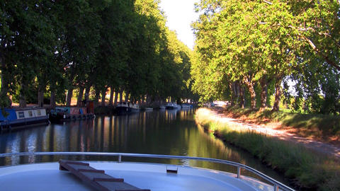 boat floats on the river Stock Video Footage