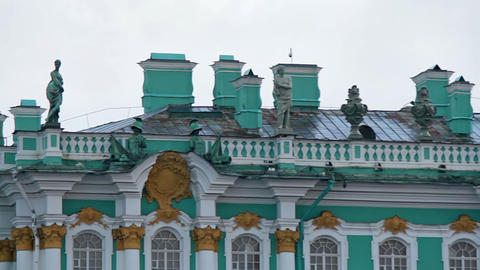 Decorating the roof of the Winter Palace, part 2 Stock Video Footage