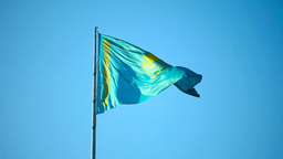 Kazakhstan flag Stock Video Footage