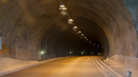 driving through a long tunnel Stock Video Footage