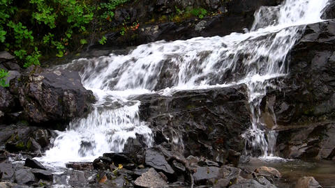 Waterfalls in the Mountains Norway, closeup, loop Stock Video Footage