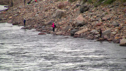 fishermen fishing in mountain river Stock Video Footage