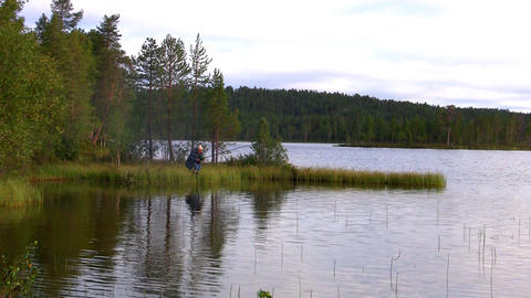 fishermen fishing on lake Footage