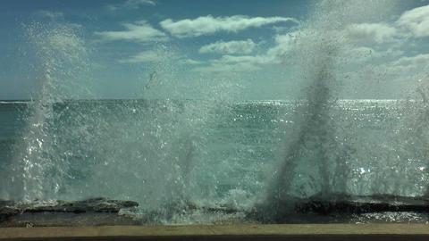 Big Splash At Quay Wall In Honolulu, Ohau Hawaii stock footage
