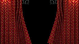 red and gold pattern curtain with spotlight openin Stock Video Footage