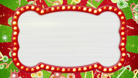 flash light bulbs banner and christmas candy canes Animation