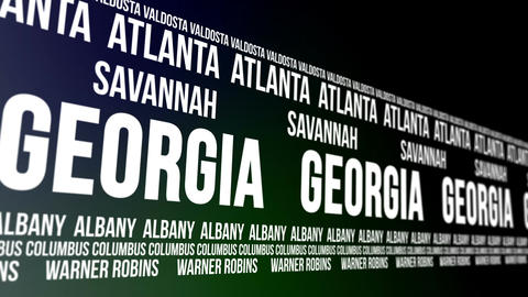 Georgia State and Major Cities Scrolling Banner Animation