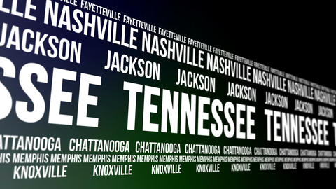Tennessee State and Major Cities Scrolling Banner Animation
