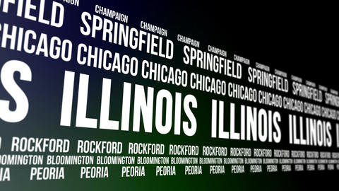 Illinois State and Major Cities Scrolling Banner Animation