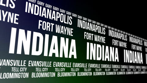 Indiana State and Major Cities Scrolling Banner CG動画