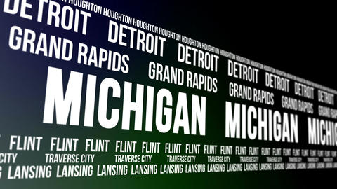 Michigan State and Major Cities Scrolling Banner CG動画