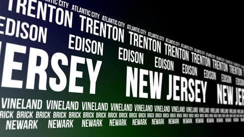 New Jersey State and Major Cities Scrolling Banner Animation