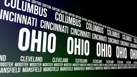 Ohio State and Major Cities Scrolling Banner Animation