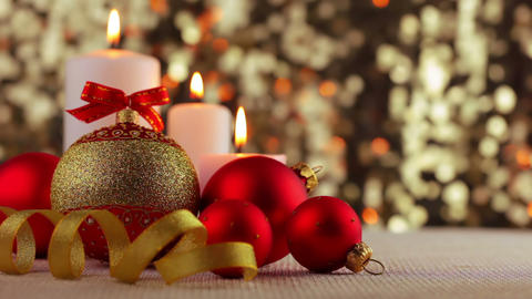 Christmas Balls and Burning Candles Footage