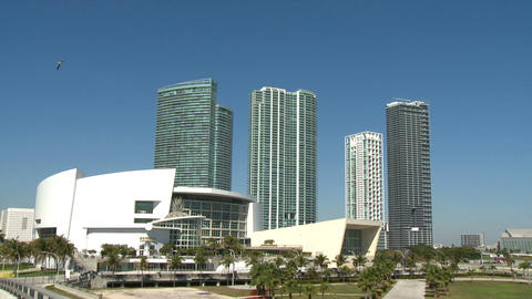 Tilt On The American Airlines Arena stock footage