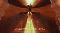 Radiant Jesus Christ Church Mural Light Rays stock footage