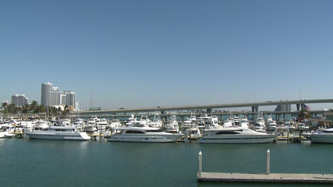 Panning view of the Bayside Marina in Miami Footage