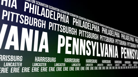 Pennsylvania State and Major Cities Scrolling Bann Animation