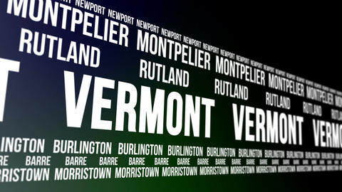 Vermont State And Major Cities Scrolling Banner stock footage