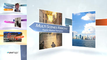 Multi Scenes Ribbons - Apple Motion and Final Cut Pro X Template Apple Motionテンプレート