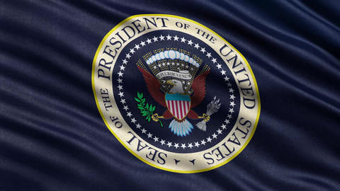 4k USA President Seal flag loop Animation