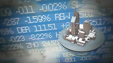 Urban world at stock market background Animation