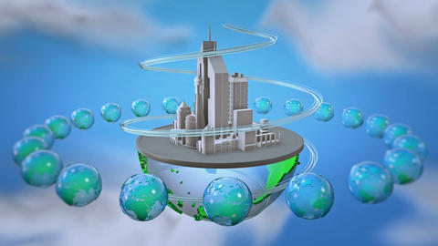 Urban world at sky background Animation