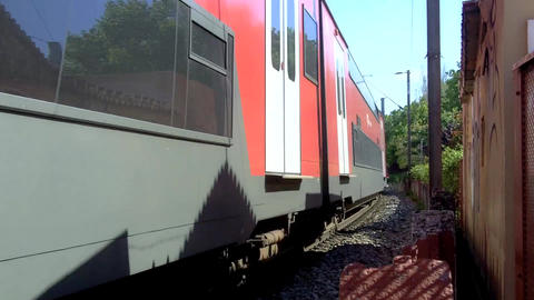 Red Train Close By stock footage