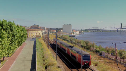 Train From Above And River stock footage