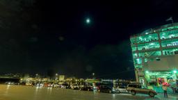 4K Motion Pan Night Timelapse Port,cars Vehicles stock footage