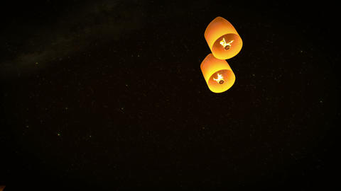 4k beautiful lead couple Lanterns flying in night  Animation