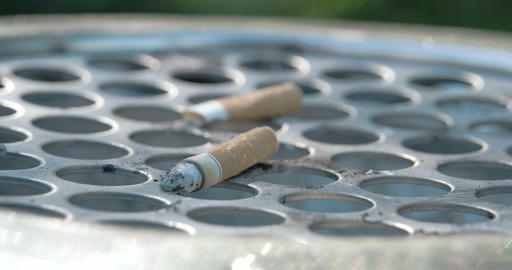 Close Up View Of The Cigarette Butt On The Bin FS7 stock footage