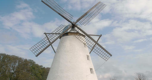 The old windmill with four blades in the farm FS70 Footage