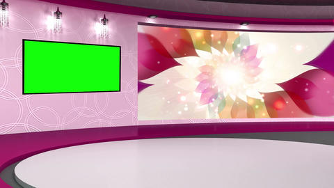 Talkshow TV Studio Set 01 Virtual Green Screen Bac stock footage