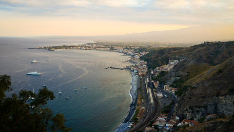 4K. Taormina And Mount Etna, Sicily, Italy. Timelapse Footage