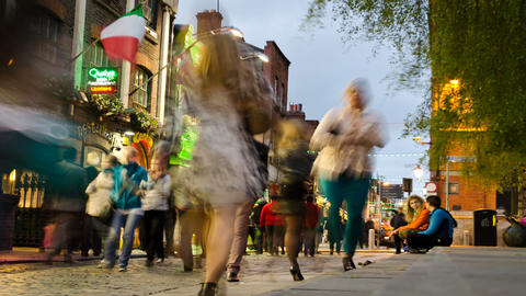 People In Temple Bar, Dublin, Ireland. Time Lapse Footage