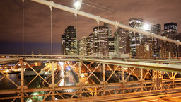 timelapse of brooklyn bridge at night, new york Footage