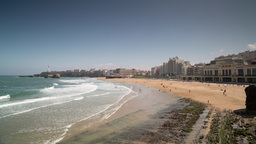 4k biarritz france timelapse city surfers sea Footage