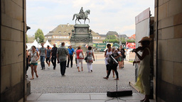 View From Zwinger Palace To King John Statue On Th stock footage