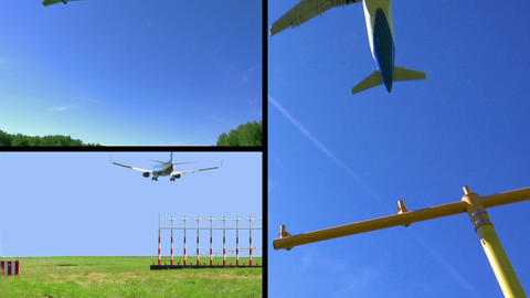 Airplanes Landing Collage HD Footage