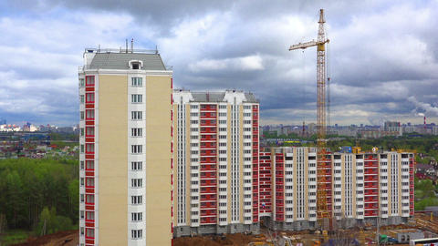 Building Construction Crane Working HD Footage