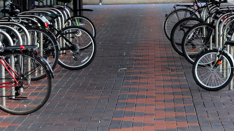 Bicycle Parking Lot stock footage