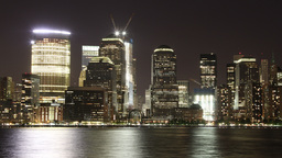lower manhattan skyline from new jersey, nyc, USA Footage