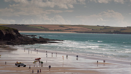 polzeath cornwall coast beach england 4k surfers Footage